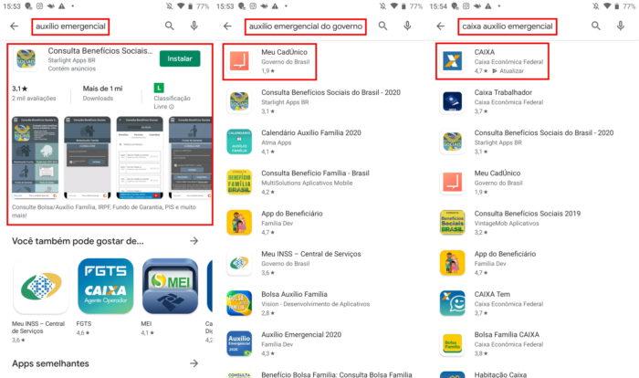Google Play Store e auxílio emergencial