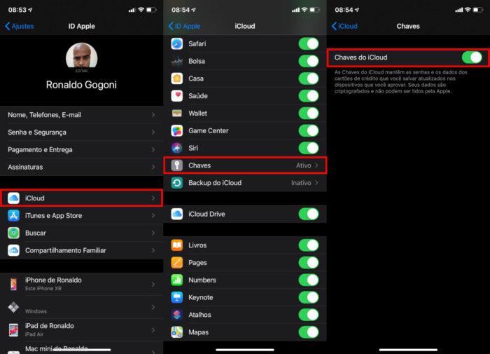 iPhone / Chaves do iCloud / iCloud Keychain