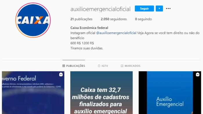 Conta falsa do Caixa Auxílio Emergencial no Instagram