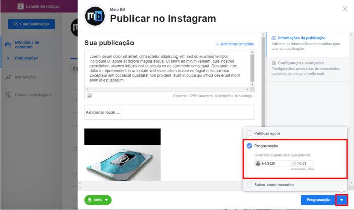 Facebook / Estúdio de Criação / agendar post facebook pelo instagram
