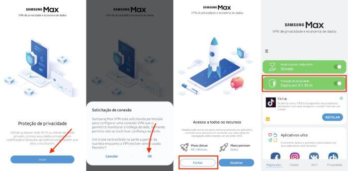 instalar VPN Samsung Max para tentar funcionar o Caixa Tem