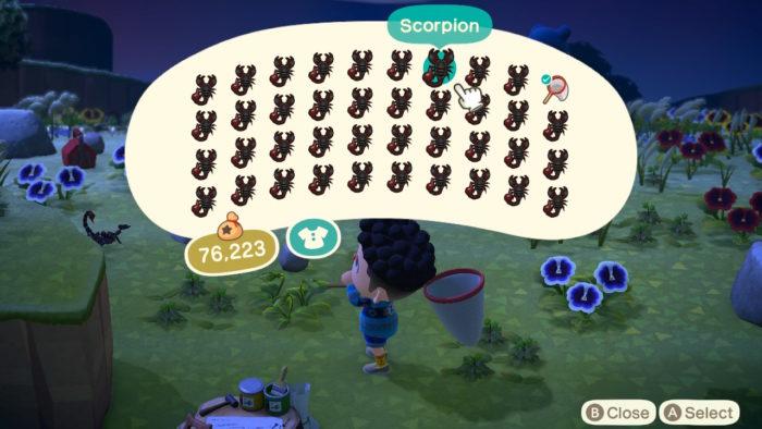 inventário cheio de escorpiões