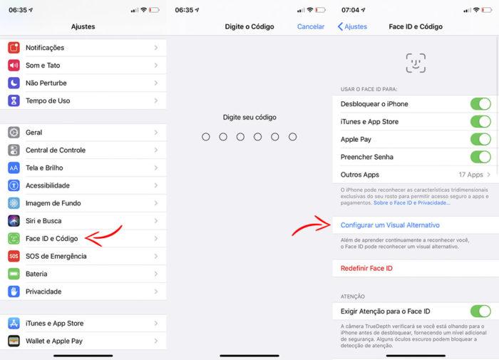 Abra as configurações do iPhone treinar Face ID a reconhecer rosto de máscara