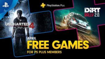 PS Plus oferece Uncharted 4 e Dirt Rally 2 nos jogos de abril de 2020