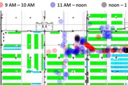 Locix usa círculos em mapa para indicar interações entre funcionários