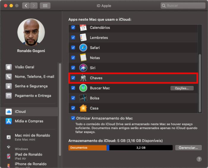 macOS Catalina / Chaves do iCloud / iCloud keychain