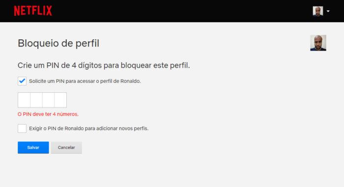 Netflix / bloqueio de perfil / pin netflix