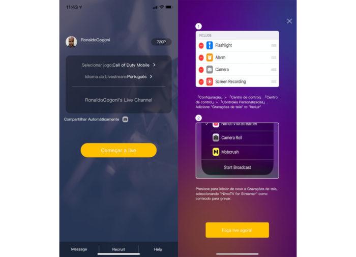 iPhone / Nimo TV for Streamer / como fazer live na nimo tv