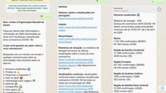 WhatsApp: OMS lança bot sobre coronavírus em português