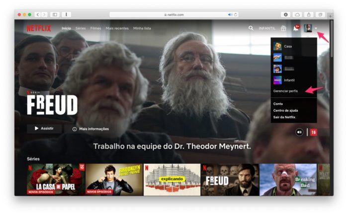 Acesse as configurações para criar um perfil na Netflix