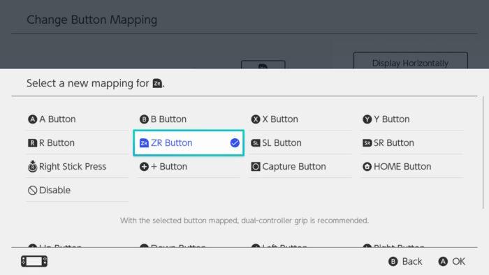 escolher nova função para os botões do Switch