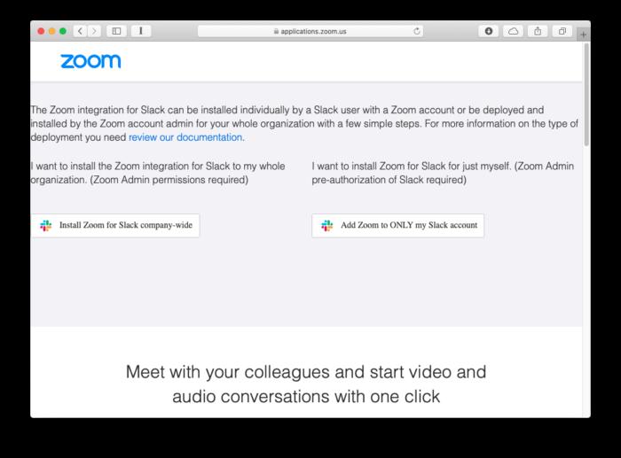 Instale o Zoom no Slack