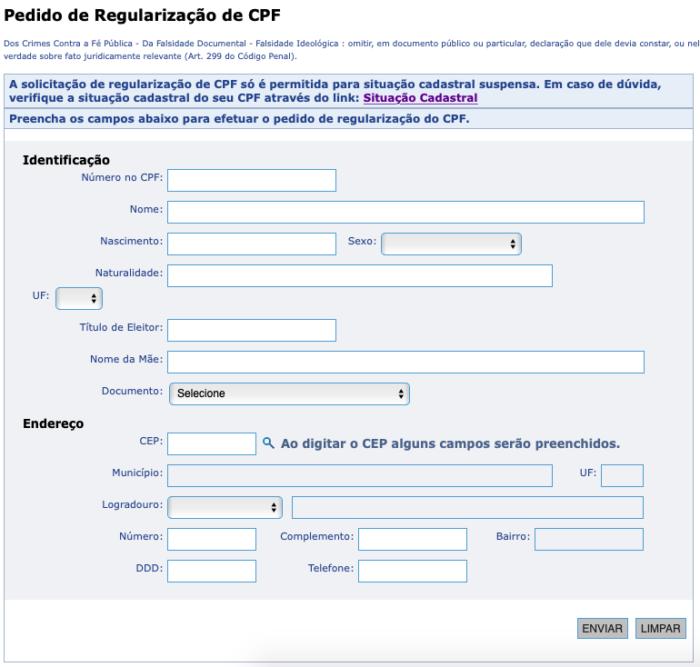 formulário para regularizar CPF pela internet / captura de tela