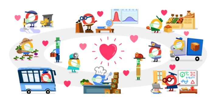Trabalhadores Essenciais Google Doodle