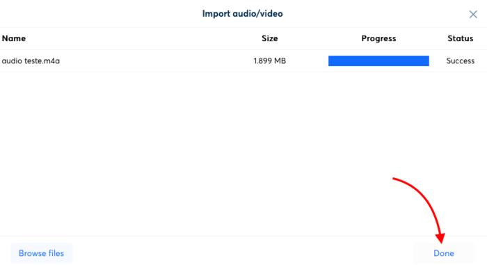 subindo arquivo de áudio no otter para transcrever em texto