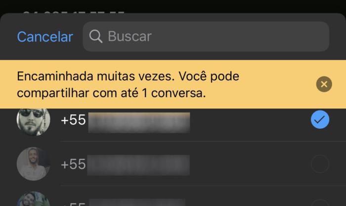 WhatsApp mensagem encaminhada muitas vezes