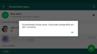 WhatsApp ativa novo limite no app para mensagens encaminhadas