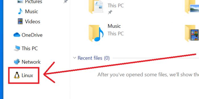 Linux no Explorador de Arquivos do Windows 10