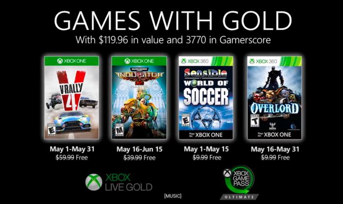 xbox live gold de maio de 2020