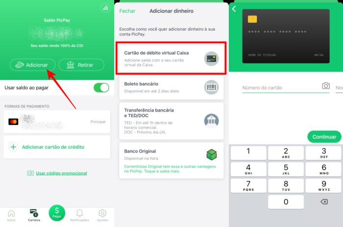 Transferir auxilio emergencial para o PicPay com o cartão de débito virtual