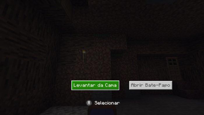 Dormindo na cama em Minecraft