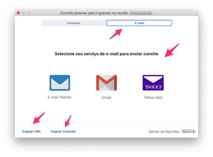 Zoom: envie o convite para outras pessoas por e-mail ou mensageiros