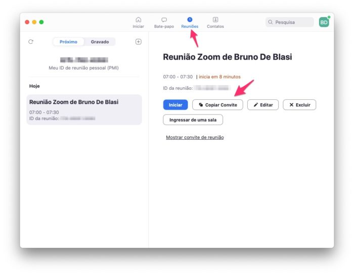 Como enviar convites para uma reunião agendada no Zoom