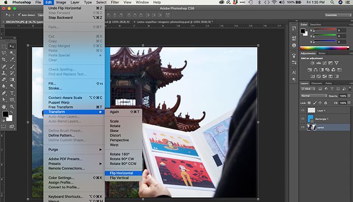 Como espelhar imagens no Photoshop