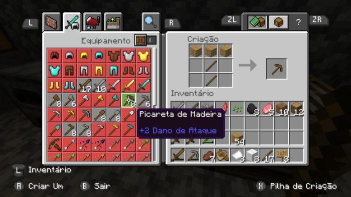 Como fazer picareta no Minecraft / Felipe Vinha / Reprodução