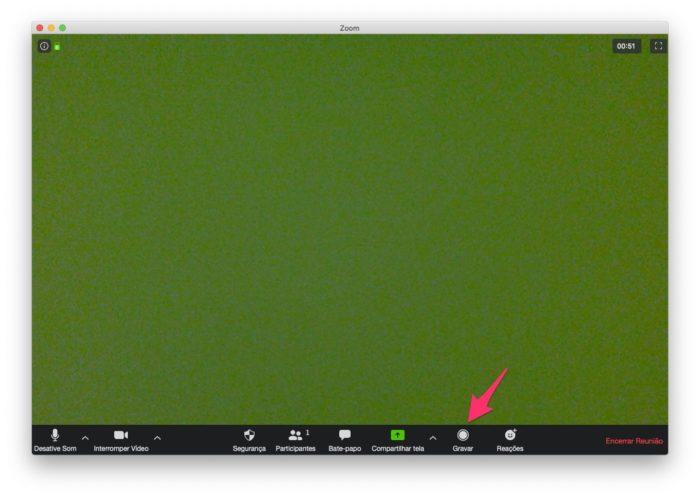 """Clique em """"Gravar"""" para gravar reunião no Zoom"""