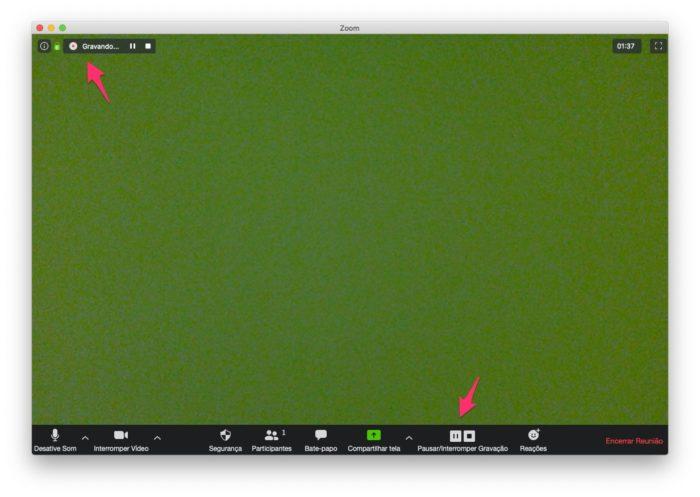 """Aperte em """"Pausar/Interromper Gravação"""" para finalizar a captura no Zoom"""