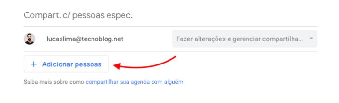 compartilhar agenda do google