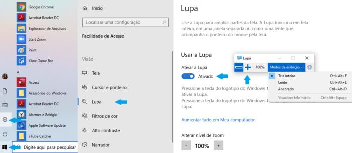 Configurações da lupa no Windows 10/Reprodução Gabrielle Lancellotti