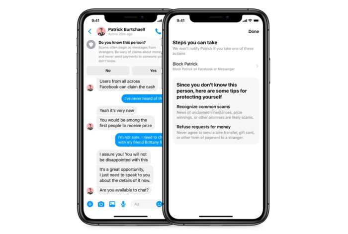 Alerta sobre contato suspeito do Facebook Messenger