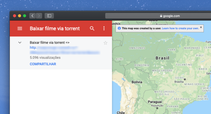 Filme Torrent no Google Maps