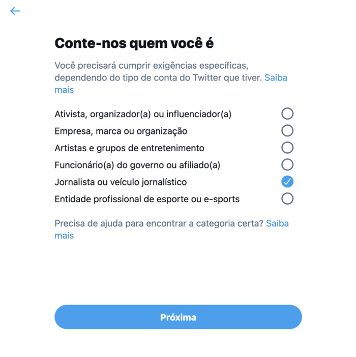 Usuário precisa indicar em quais dos grupos se encaixa para pedir o verificado do Twitter (Imagem: Reprodução/Twitter)