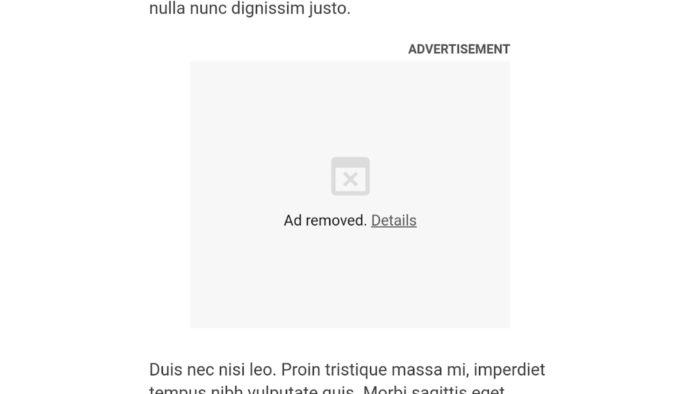 Exemplo de anúncio pesado bloqueado no Google Chrome (Foto: Divulgação/Google Chrome)