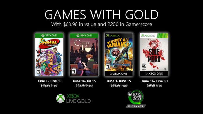 jogos xbox live gold de junho de 2020
