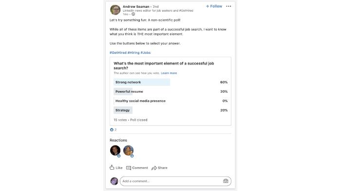 Enquete do LinkedIn (Foto: Reprodução/TechCrunch)