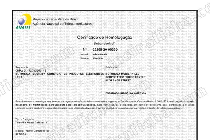 Certificado de homologação do Motorola One Fusion+ (Foto: Reprodução/Plantão Anatel/Everton Favretto)