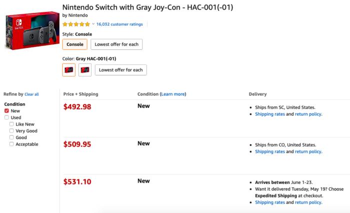 preços do Nintendo Switch na Amazon dos EUA