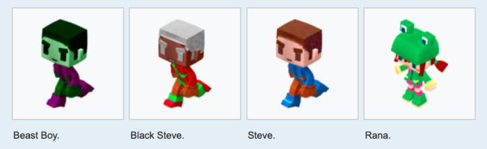 Steve e Alex no Minecraft - Primeiras versões