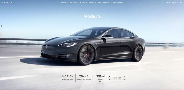 Site do Tesla Model S