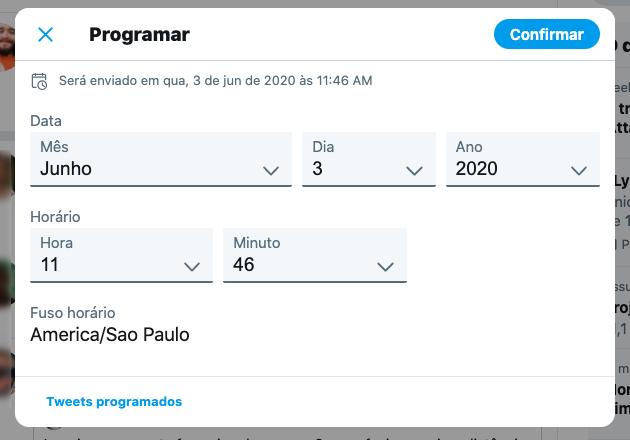 Agendamento de tweets pelo Twitter Web (Foto: Reprodução/Bruno Gall De Blasi)