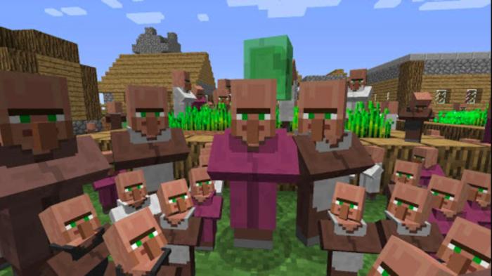 Grupo de Villagers em Minecraft