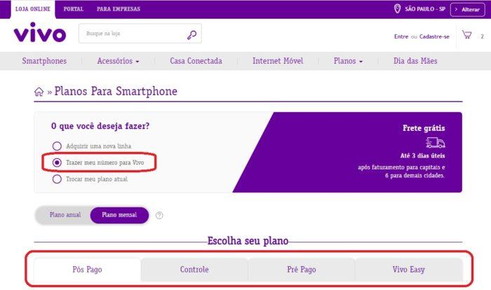 Como fazer portabilidade para Vivo / Victor Hugo Felix / Captura de tela