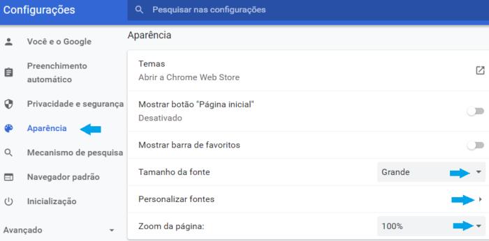 Configurações da lupa no Chrome/Reprodução Gabrielle Lancellotti