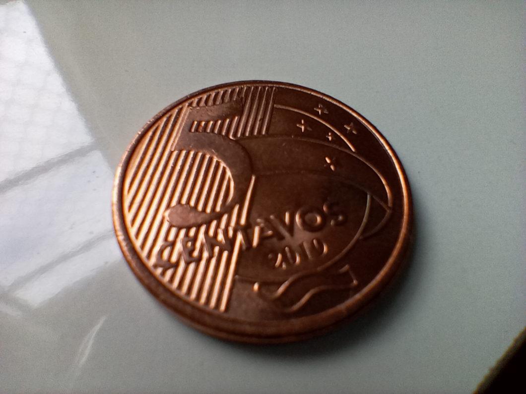 Foto de moeda tirada com a lente macro