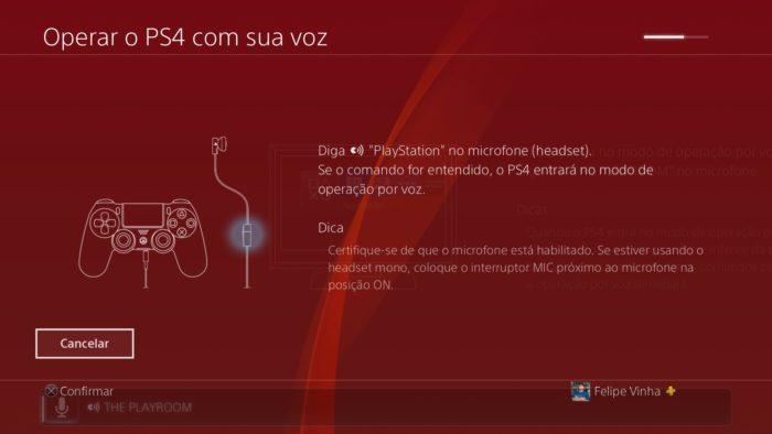 comando de voz playstation 4 / Felipe Vinha / Reprodução