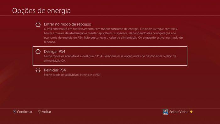 como desligar ps4 / Felipe Vinha / Reprodução